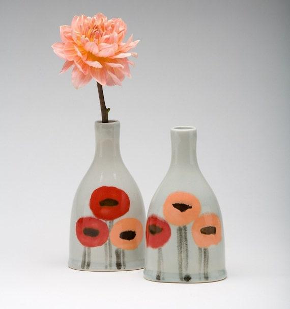 Poppy oval bottle vase, special order for Sarah
