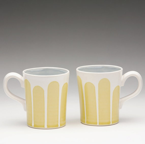 Yellow Striped Mug: set of 2 special order