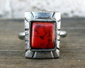Vintage Southwestern Style Adjustable Ring with Red Stone