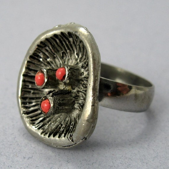 Berries in the Pod Vintage Adjustable Silver and Red Ring
