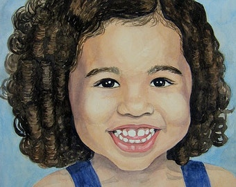 Gift of Art Custom 11 X 15  Watercolor Portrait of One Person or Pet