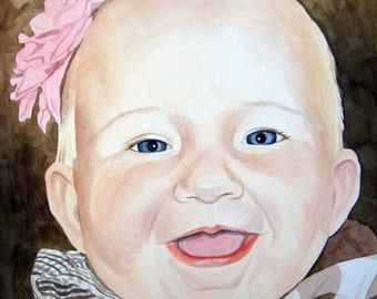Give the Gift of Art Custom 7 X 10 Watercolor Portrait - One Person