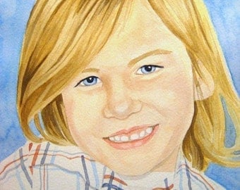 Custom 7 X 10 Watercolor Portrait of a Child, Adult, or Pet Includes Standard White Mat