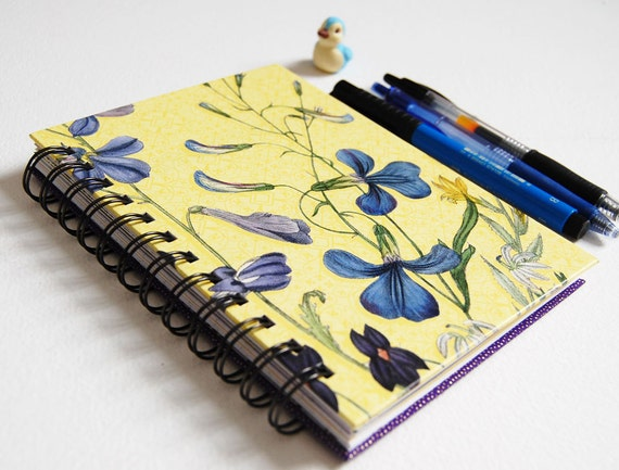 Vintage Violets Journal Notebook - Wire Bound- one of a kind - writing, sketching, drawing, note making