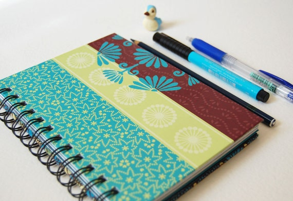 Asian Flower Journal Notebook - One of a Kind - wire bound - writing, drawing, doodling, sketching
