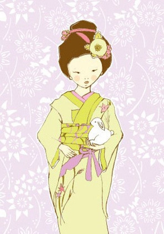 Sweet Asian Girl with Bunny print