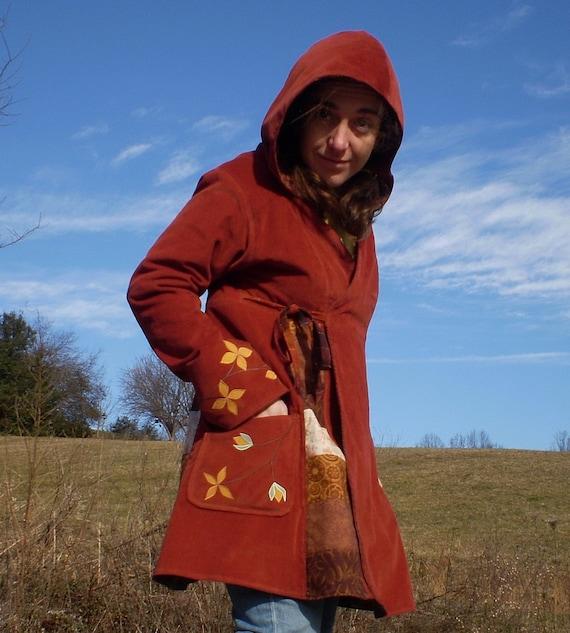 Pumpkin Flowers flannel lined hooded wrap coat