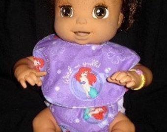 Sew Ez PDF Sewing Instructions Pattern To Make Cloth Doll Diapers AND Doll Bibs (Includes 2 Diaper Patterns and 3 Bib Patterns)
