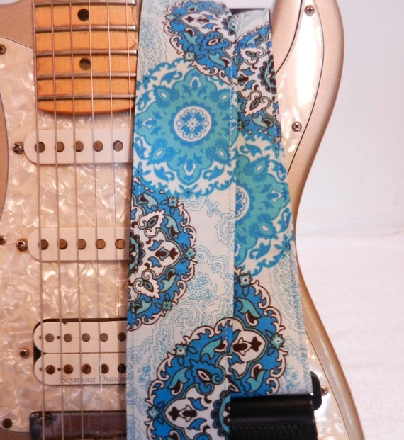 sky blue paisley hipster guitar strap