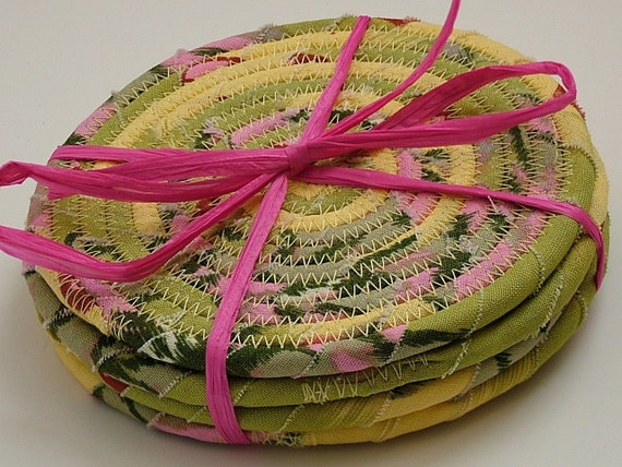 YELLOW WATERLILY Fabric Coasters