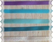 Light Purple, Turquoise and White Ribbon Destash - Satin - Handmade Craft Hair Bow