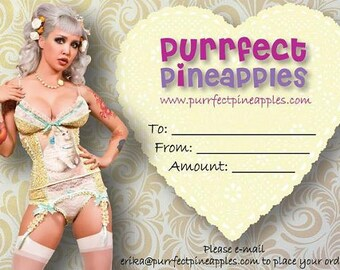 Purrfect Pineapples Gift Certificate - 50 DOLLARS - Handmade Vegan Bridal