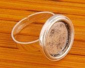 10pcs Handmake silver tone Adjustable Blank ring