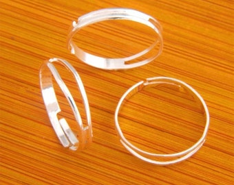 17MM500pcs Findings Adjustable silvery white Base Blank RING ----MY01