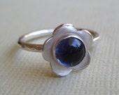 Iolite Flower Ring