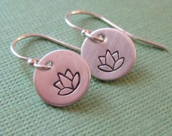 Tiny Little Lotus Flower Earrings