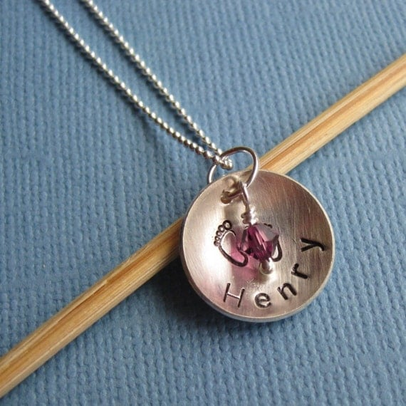 Custum Hand Stamped Mother's Necklace,  New Baby Necklace, Personalized Necklace