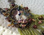 Reserved for Monique Art Nouveau Beadwoven Cabochon Necklace Secret Garden