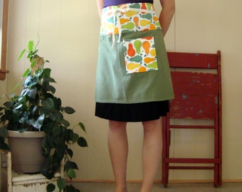 Pears in Summer Cafe Apron - green