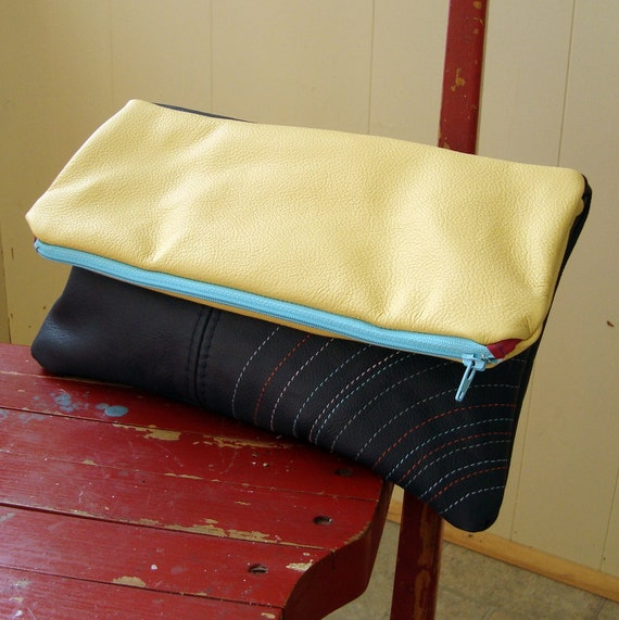 Navy Blue and Yellow Fold Over Leather Clutch
