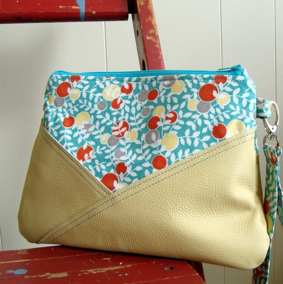 Hello Betty Yellow Leather Clutch