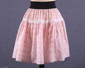Upcycled Pink Floral Skirt / Romantic Full Mini Skirt / M