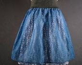 Blue Lace Skirt / Full Ballerina Mini Skirt / Medium