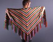 70s Southwestern Poncho / Rainbow Wrap / Wool Fringe Shawl