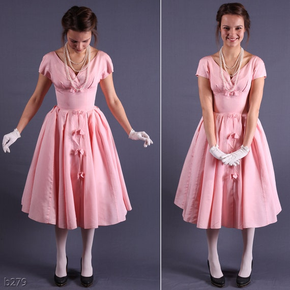 Vintage 50s Dress / Pink Silk Tafetta Prom Dress / by BetaBoutique