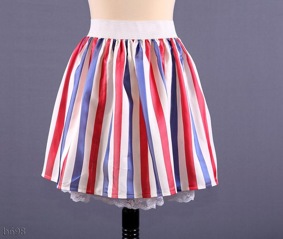 Striped Patriotic Mini Skirt / Red White and Blue / M