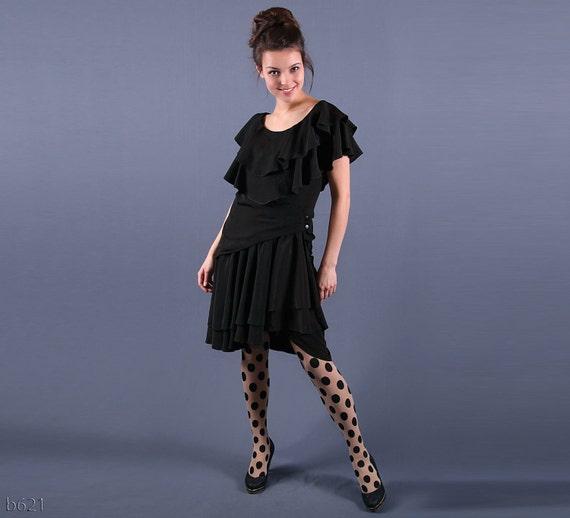 Vintage 1980s Gothic Black Vamp Ruffled Carmena Dress / size Medium, M