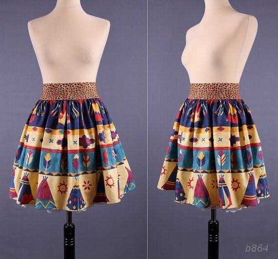 Tribal Print Cotton Mini Skirt / Southwestern Print / Medium