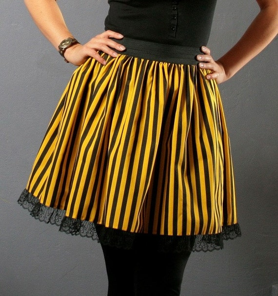 Yellow and Black STRIPED CIRCUS BetaDesign skirt size Small/