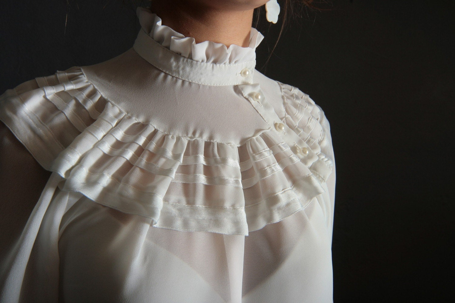 White Ruffle Victorian Blouse 117
