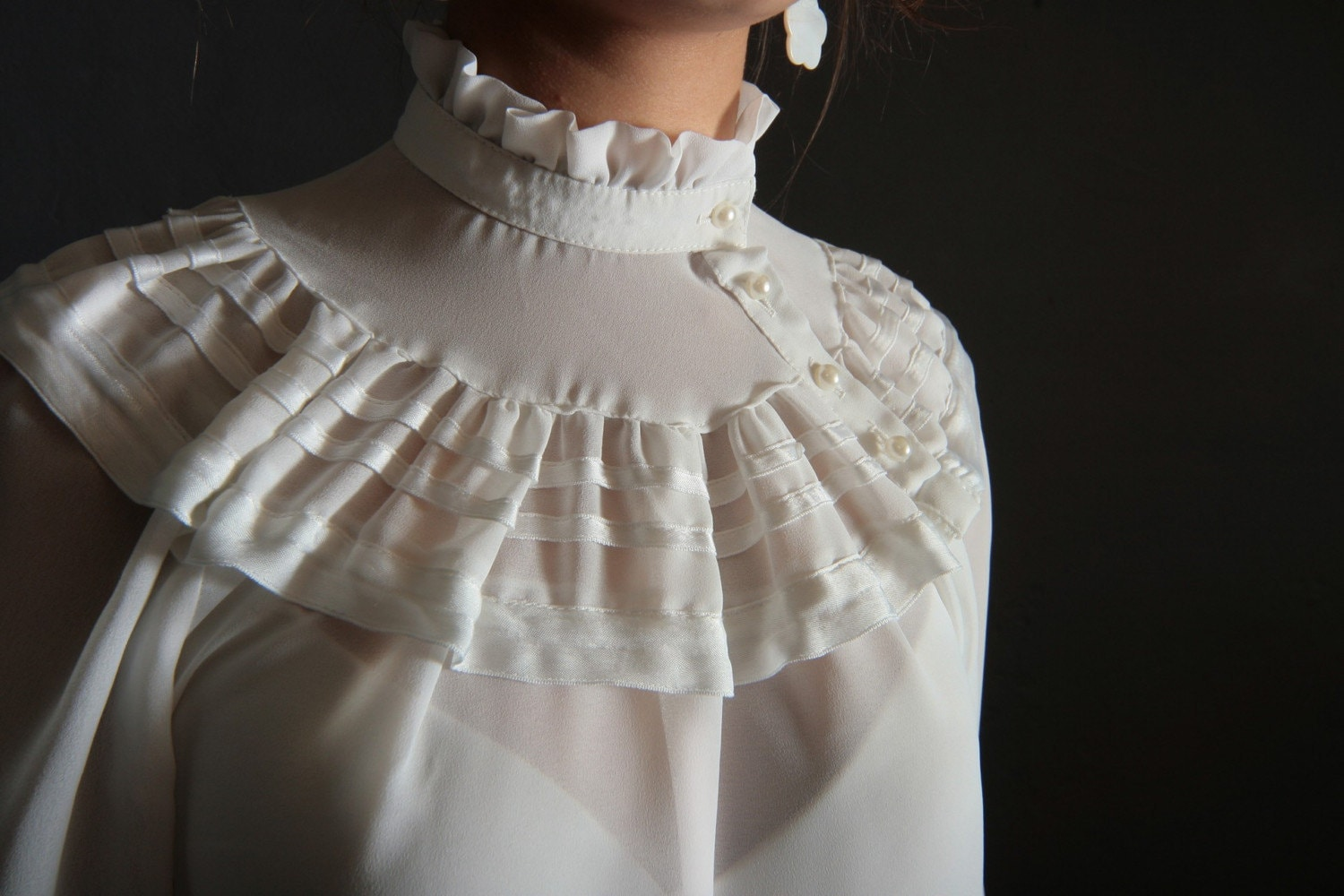 Victorian White Ruffle Blouse - Long Blouse With Pants