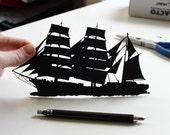 Tall Ship Silhouette – Framed Hand-Cut Paper Art