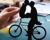 Bicycle Kissing Couple Papercut First Anniversary Silhouette 8x10