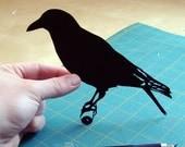 Papercut Bird: Crow Hand-Cut Paper Silhouette- 8x10
