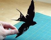 Bird Papercut: Un-Framed Swallow Hand-Cut Paper Silhouette- 8x10