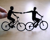 First Anniversary Cut Paper  - Gay Men Couple on Bikes- 8x10