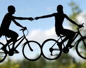 Bike Couple Hand-Cut Papercut Silhouette- 8x10