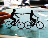 First Anniversary Gift Paper Couple on Bikes- 8x10
