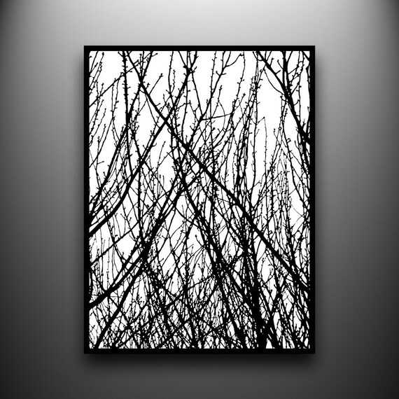 Branches 1: 18x24 Hand-Cut Paper Art, framed and one-of-a-kind