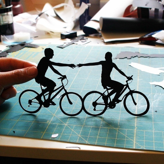 "Bicycle Silhouette, ""Holding Hands,"" as seen in the WALL STREET JOURNAL"