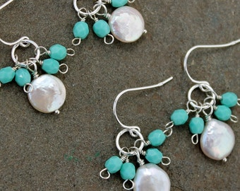 Set  of 5 Coin Pearl and Tiffany Blue Bridesmaids Earrings, Turquoise Wedding Jewelry, Bridesmaids Gift