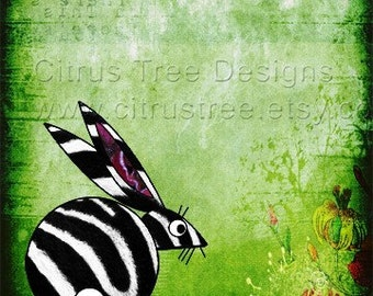 Bunny with a Side of Zebra- Original Photomontage Fine Art Print - Signed and Dated-- Giclee Print
