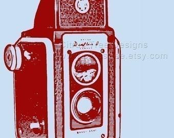 Camera Art Camera Wall Art VINTAGE KODAK DUAFLEX  w/Quote Original Illustration Fine Art Print -Signed and Dated  -