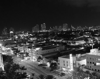 MIAMI SOUTH BEACH - Black and White Evening City Skyline - Original Photograph Fine Art Print- Signed and Dated --Buy 2 Get 1 Free--