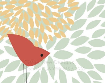 One Red Bird - 13 x 19 Original Illustration Fine Art Print - Signed and Dated - BUY 2 GET 1