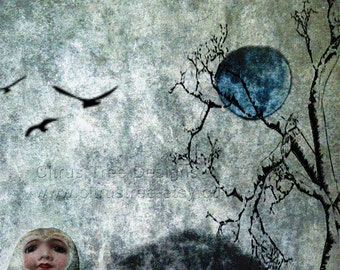 ONCE Iin a BLUE MOON - Original Photomontage Fine Art Print - Signed and Dated --Buy 2 Get 1 Free